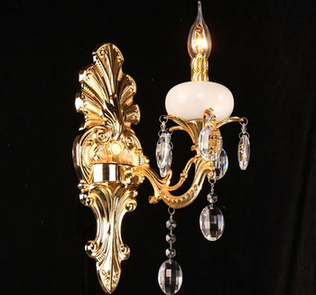 Настенный светильник в Европейском стиле, из цинкового сплава, с кристаллами, для спальни, прикроватный светильник, Мраморный Настенный све...