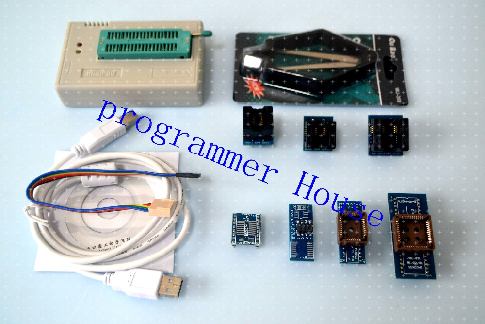 100% XGECU V7.32 TL866II Plus TL866A Universal USB Bios Programmer Support Nand flash 24 93 25 ICSP FLASH\EEPROM\MCU+ 7 adapters