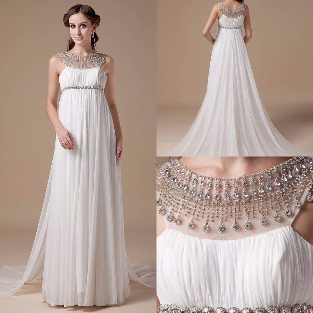 Crystal Design 2016 Wedding Dresses: 2016 Empire Maternity Wedding Dresses Real Photos