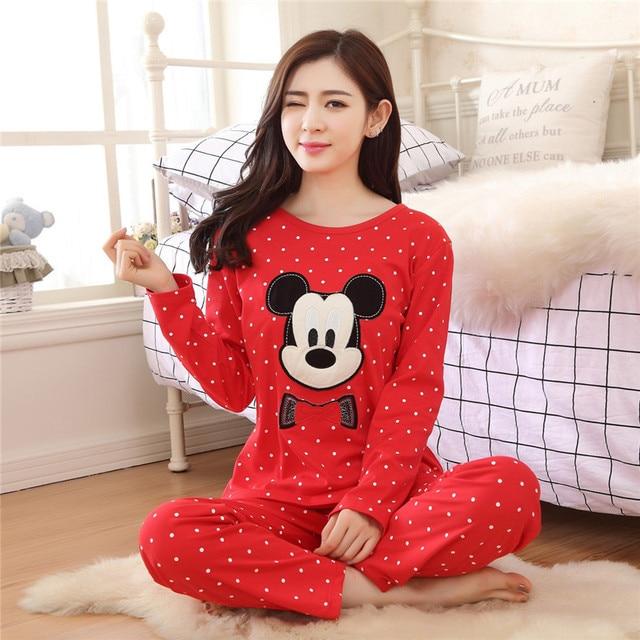 2016 New Women Cute Cartoon Mickey Pyjama Knitted Cotton Sleepwear Ladies  Spring Pajamas Nightgown Set Home Clothing Bathrobe 9d8bbb448