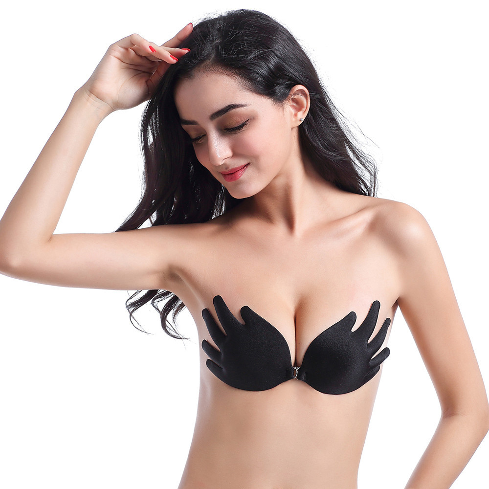 b25cff4260 EFINNY Sexy Women Silicone Bra Push Up Strapless Backless Self-Adhesive Gel Stick  Invisible Black Skin ...