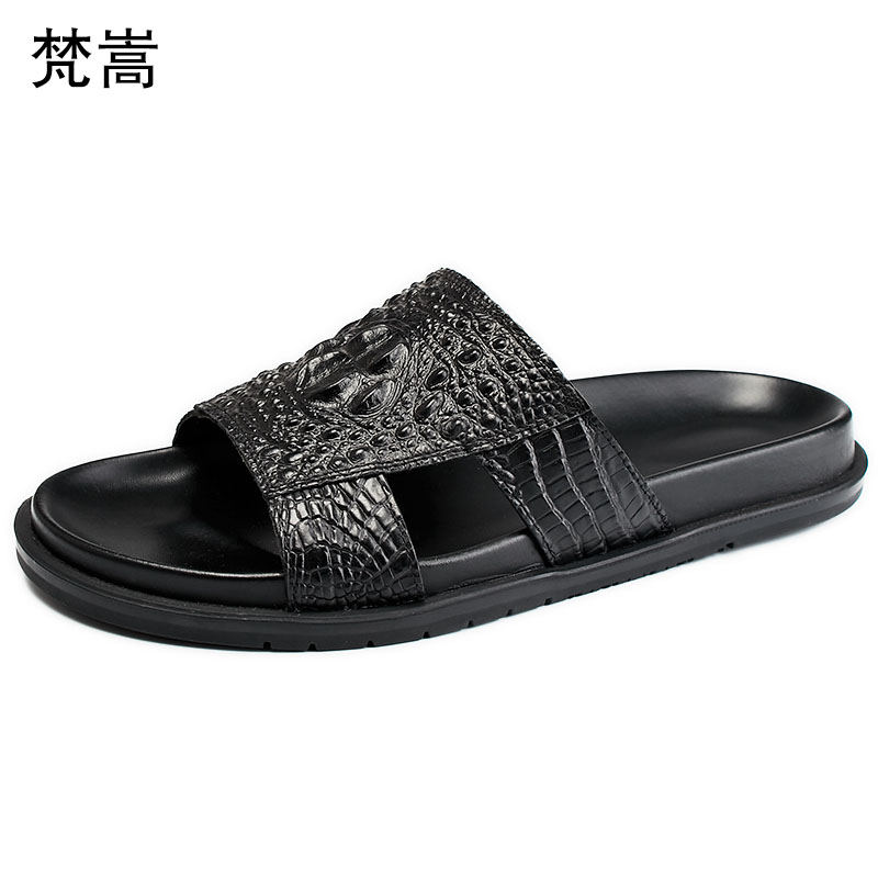 crocodile pattern mens slippers fashion roman sandals anti skid casual Shoes beach outdoor mens slippers outside summer in Slippers from Shoes