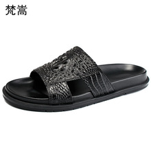 купить crocodile pattern mens slippers fashion roman sandals anti-skid casual Shoes beach outdoor mens slippers outside summer дешево