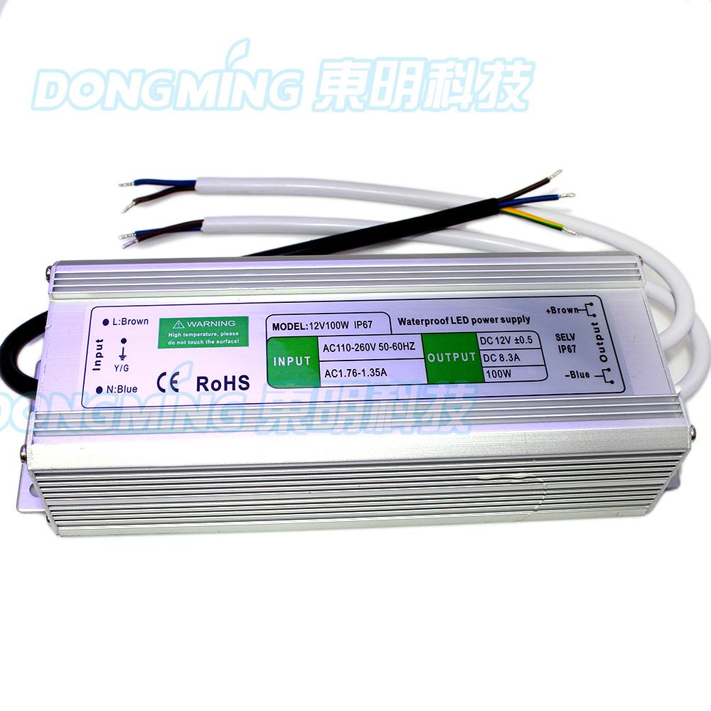 ФОТО 8.5A 12V 100W LED Driver IP67 Waterproof for pool lights transformer 220V 110V adapter Led Power Supply switching for floodlight