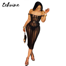 Echoine Sexy Women Slash Neck Off Shoulder Mesh Striped See Through Bodycon Night Club Party Midi Dress with Chest sticker stylish scoop neck striped mesh spliced midi dress for women