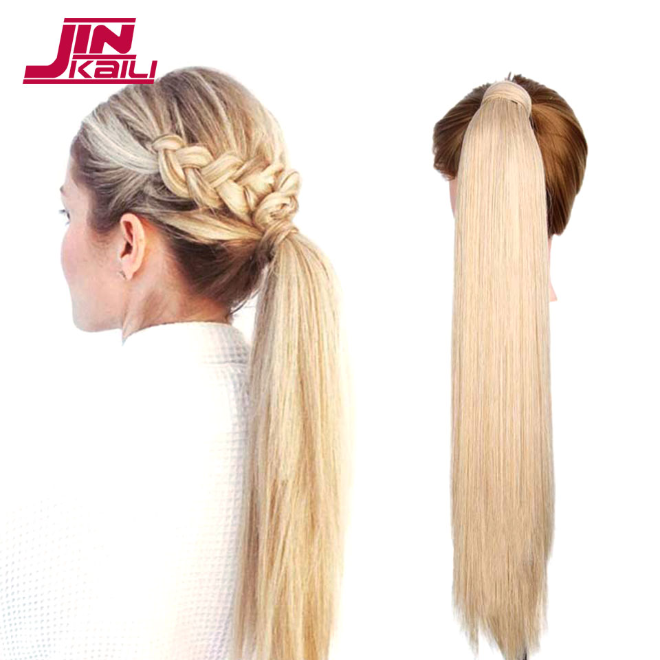 JINKAILI 24 120g High Temperature Fiber Long Straight Synthetic Wrap Around Hairpieces Fake Hair Ponytail Extensions ...