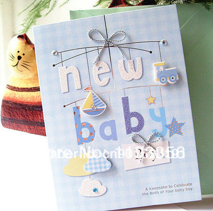 New born baby greeting card 12 patterns mixed lovely 3D baby gift