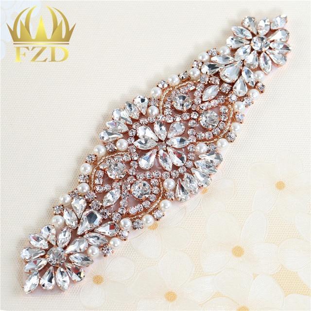 e24ab7c19b US $4.06  FZD Retail 1 Piece Crystal Bridal Beaded Sash Belt Rhinestone  Pearl Applique Patch for Dress Sash DIY Iron On Headwear-in Rhinestones  from ...