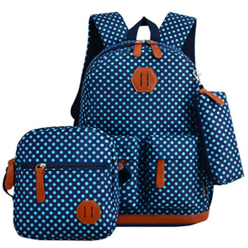 3PCS/SETS School Bags For Teenagers Girls Schoolbag Large Capacity Dots Printing School Backpack Set Rucksack Cute Fresh Bags