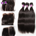 4bundles Malaysian 6a Virgin Hair bundles with lace closure middle part natural black color bundles and top lace closure on sale