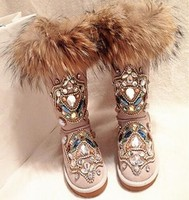 Round Toe ankle women shoes snow Boots Special Luxury colorful crystal slip on flat Winter Fashion Real Photo Cheap Price bling