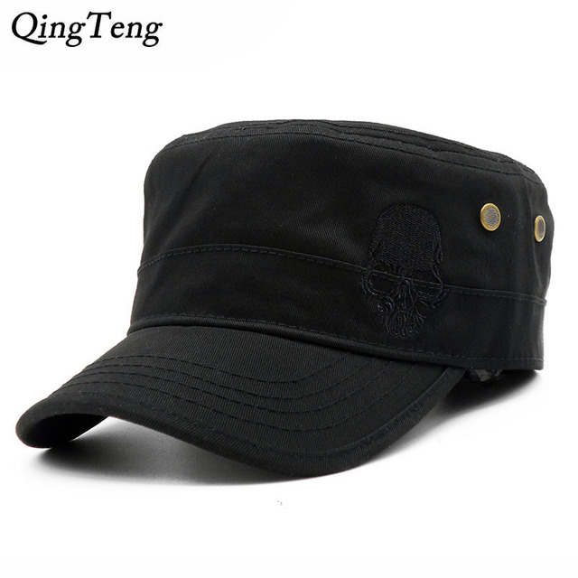 197399036 Men Baseball Caps Skull Embroidered Logo Flat Top Hats Cotton Snapback Flat  Cap Army Cadet Hat