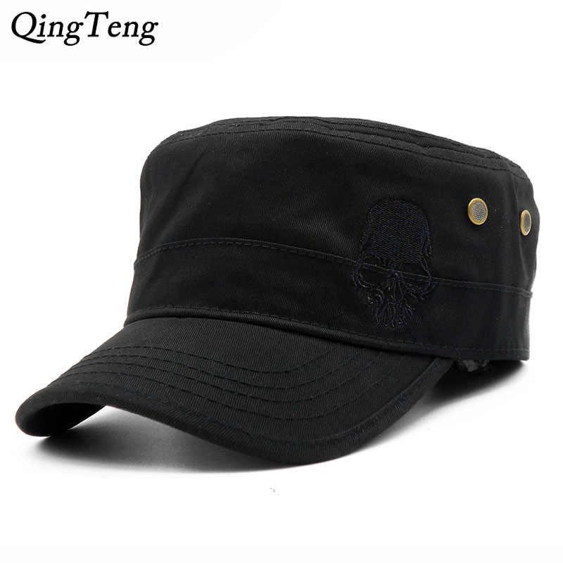 Men Baseball Caps Skull Embroidered Logo Flat Top Hats Cotton Snapback Flat  Cap Army Cadet Hat Women Gorros Hombre Hip Hop