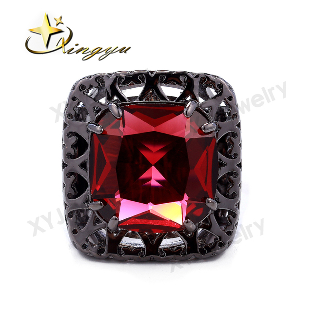 c9a0156839ab Rojo Elegante Anillo anillo de Cristal Anillo de Cristal Grande Stock  Brizal de Color Negro Plateado