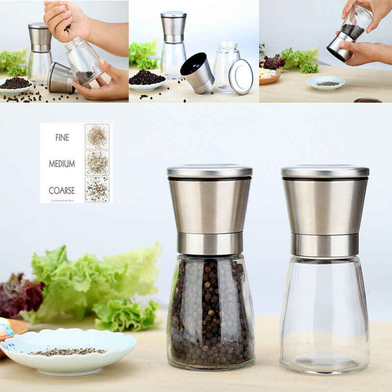 Salt and Pepper Grinder Set with 2 Lids 3 Settings Adjustable Ceramic Coarseness  2 Brushed Mill 3 Grade