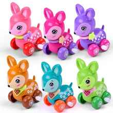 New Cute Cartoon Animal Clockwork Fawn Baby Toys Infant Crawling Wind UpToy Educational Kids Classic Toy Random Color