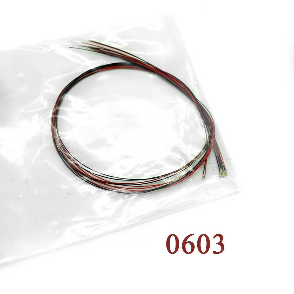 0603 SMD Model pociągu HO N OO skala wstępnie lutowane mikro litz przewodowe diody LED przewody 20cm