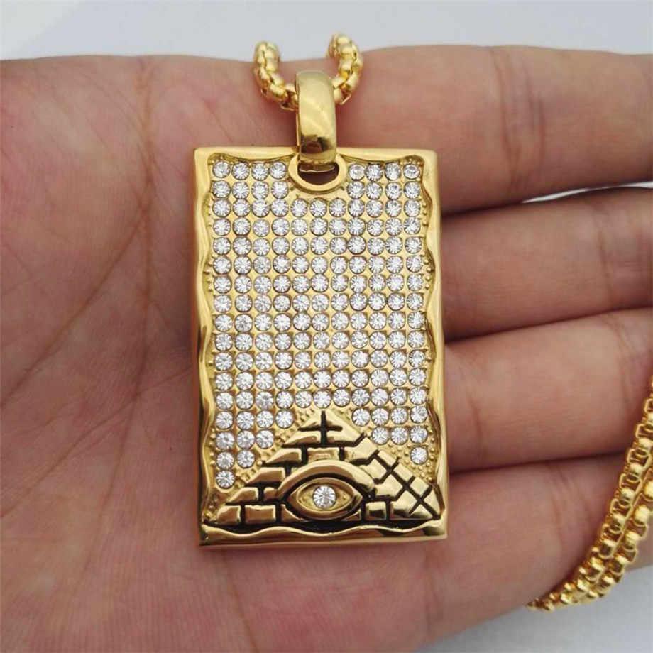 Hip Hop biżuteria egipski naszyjnik New Arrival oko horusa wisiorek Rhinestone naszyjnik ze stali nierdzewnej Iced Out łańcuchu mężczyzna prezent