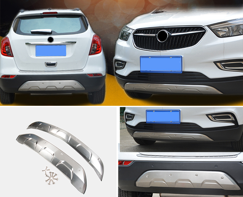 Stainless Steel Front&Rear Bumper Skid Protector Guard Cover Trim 2pcs For Vauxhall Opel Mokka / Buick Encore 2016 2017 lsrtw2017 304 stainless steel car window trims for opel mokka buick encore bitter mokka 2013 2014 2015 2016 2017 2018 vauxhall