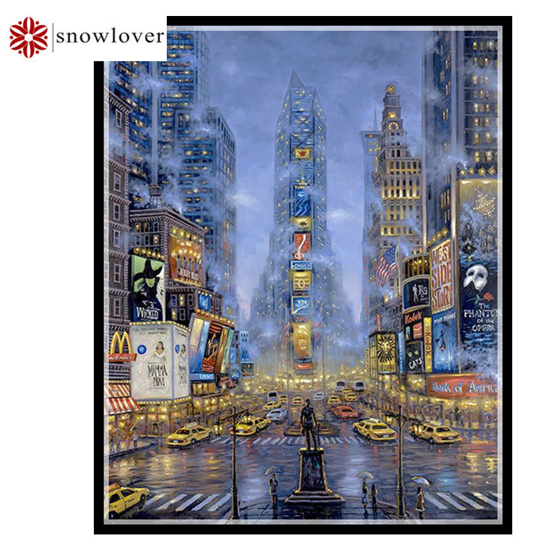 Online Shop Needlework Embroidery Diy Dmc Cross Stitch Broadway Pattern 14ct White Canvas Counted Cross Stitching Home Decor Crafts Aliexpress Mobile