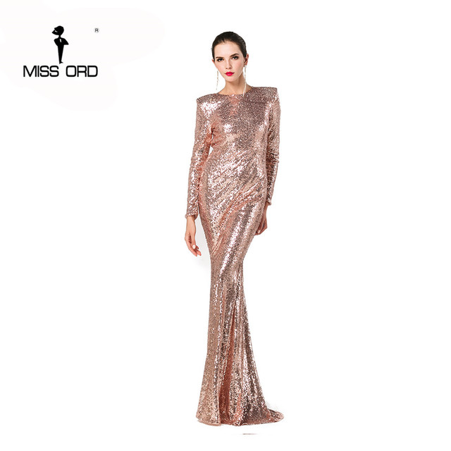 e93c8e003c8 MISSORD 2019 Sexy long sleeve halter sequin maxi Reflective dress FT4182-in  Dresses from Women s Clothing on Aliexpress.com