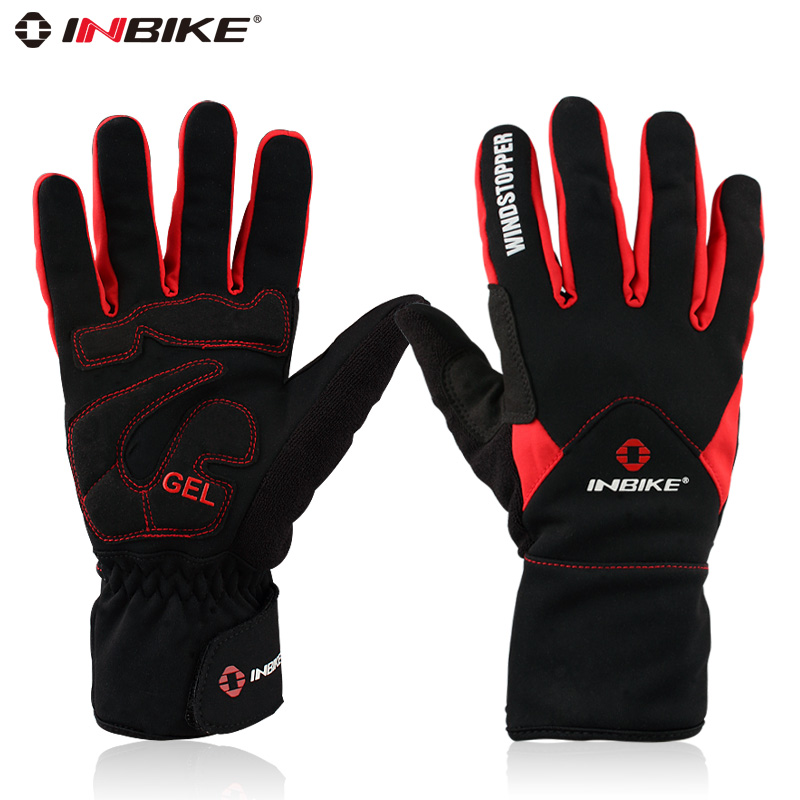 INBIKE Winter Cycling Gloves Full Finger Thermal Fleece Windproof MTB Motorcycle Skiing Bike Bicycle Gloves Windstopper Mittens