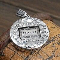 S925 bijoux en argent argent argent Népal six mots lotus Petite Boîte Pendentif Pendentif ms. homme