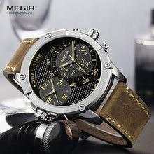 MEGIR Mens Leather Strap Sports Chronograph Quartz Watches Fashion Double Time Zone Army Waterproof Wristwtach for Man 2093GBN