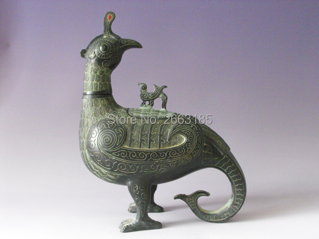 Hot Sales New Chinese Antique Bronze Imitation Art Decor Lucky Moving Bird Head Mascot Statue Sculpture Home Decoration