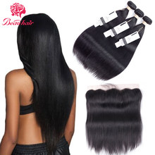 Beau Hair Brazilian Straight Hair 2/3 Bundles With Lace Frontal Human Hair Bundles With Closure 13*4 Non-Remy Hair Extensions(China)