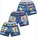Novos calções de verão das crianças do bebê das meninas dos meninos calças jeans crianças dos desenhos animados shorts calças varejo 2-5 anos de idade frete grátis