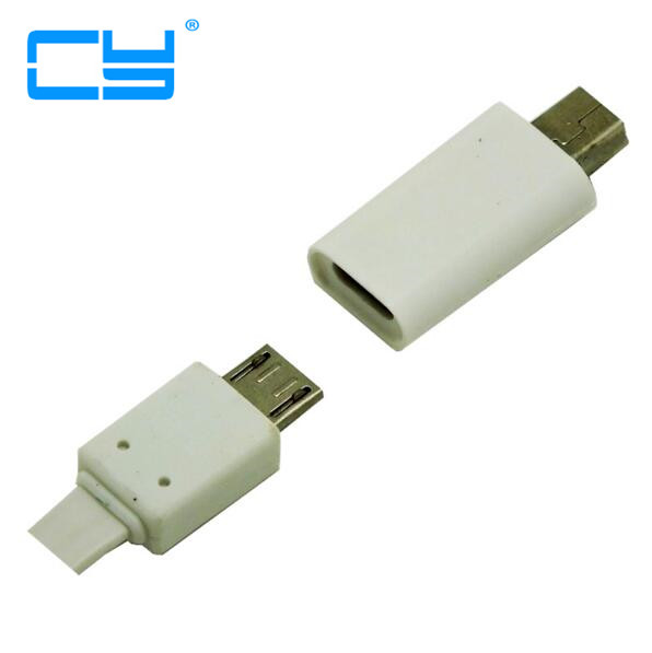 White 2pcs/lot Mini Usb Male to Micro usb female adapter connector charging charger for smartphone MP4 mp5 psp 360 power bank yuxi brand new 2 5 0 7mm male plug to 5 5 2 1mm female ac dc power connector adapter charger convertor