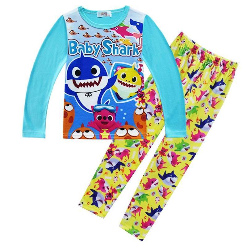 3-9Years Cartoon Shark Infant   Pajamas     Set   Kids Pijamas For Boys Sleepwear Children's Nightwear Costume Baby Boys Clothes   Sets