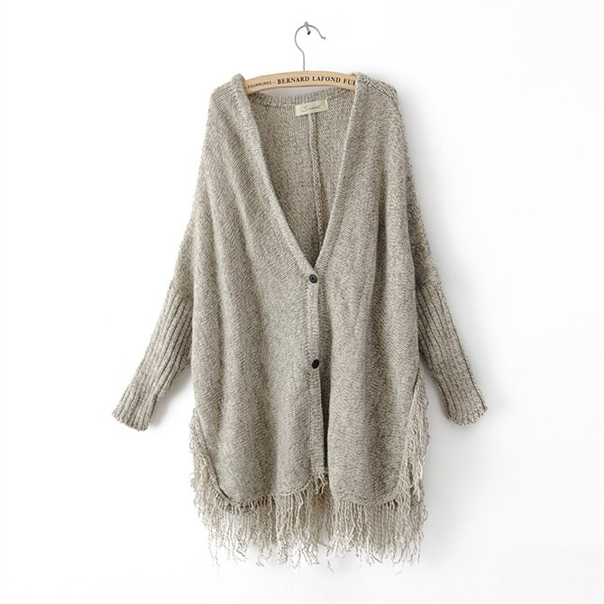 Arrivals gray Tassels Fringes Women khaki Cardigans Knit Neck Winter V 2018 Sweater Autumn Black New Casual xrxBw