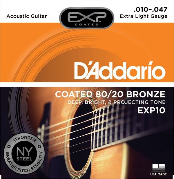 D'Addario EXP gecoate 80/20 Bronze akoestische gitaarsnaren, EXP10 - Muziekinstrumenten - Foto 2