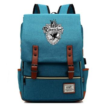 Fashion Magic Hogwarts Ravenclaw Slytherin Gryffindor Boy Girl Student School Bag Teenagers Women Bagpack Men USB Belt Backpack