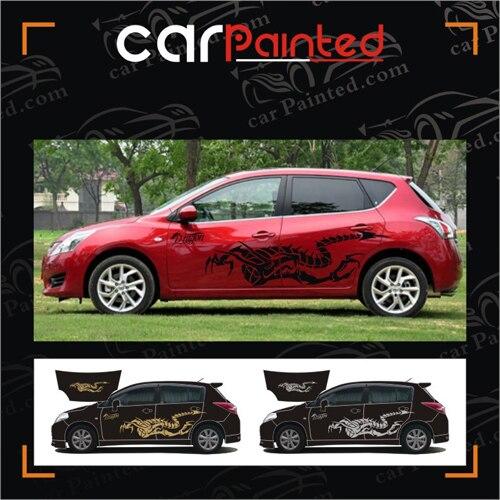 tiida car garland dragon totem of the entire vehicle stickers cartoon dragon scorpion. Black Bedroom Furniture Sets. Home Design Ideas