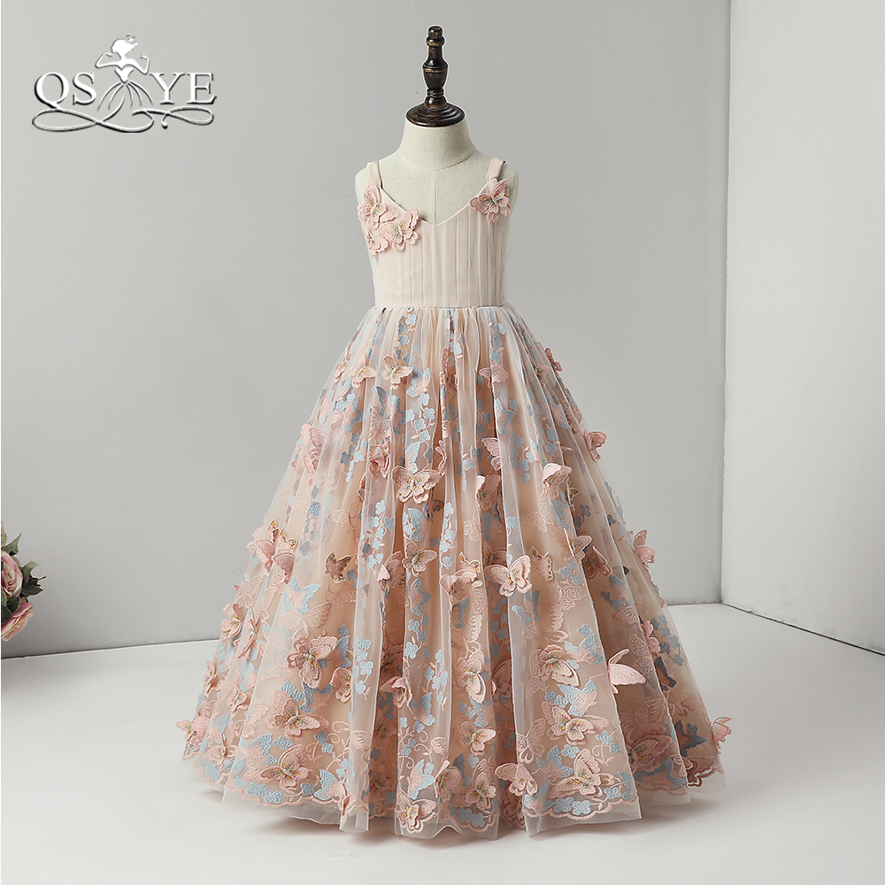 QSYYE 2018 Cute   Flower     Girl     Dresses   Spagetti Straps V Neck 3D Floral Lace Floor Length   Girls   Prom Party Gown For Wedding
