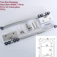 Solid Aluminum Top hung sliding glass door roller soft shower box sliding door wheel buffer damper damping two double way