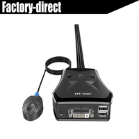 2 port USB DVI KVM Switch with External Switch Button Switch by Desk top Controller for