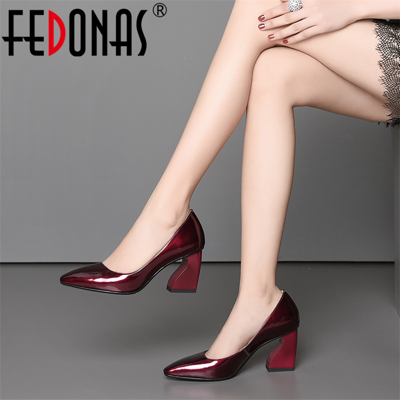 FEDONAS New 2019 Women Genuine Leather High Heels Pumps Slip On Wedding Party Shoes Woman Pointed