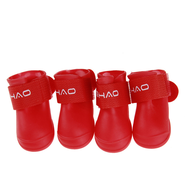 Hot 4pcs/set Dog Shoes Waterproof Rain Shoes Small Dogs Cats Breed Pet Cat Dog Socks Rubber Silicone Boots For Dogs Winter Socks 5