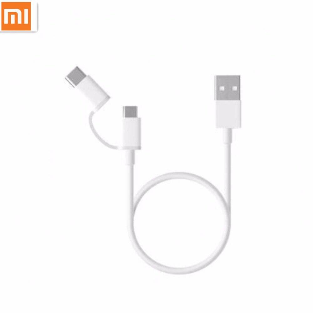 Original xiaomi 2 en 1 micro USB tipo C cable Sync cargador rápido data cable de carga tipo C para M6 Huawei Samsung Asus lg