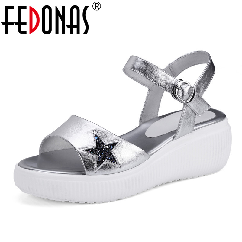 FEDONAS New Women Gladiator Sandals Wedges High Heel Fashion Ladies Glitters Wedding Party Shoes Woman Platforms Summer Sandals facndinll new women summer sandals 2018 ladies summer wedges high heel fashion casual leather sandals platform date party shoes