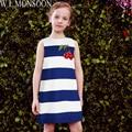 W. L. MONSOON Девушки Летнее Платье Халат Enfant 2017 Бренд Малышей Платья Детская Одежда Синий Полосатый Вишня Вышивка принцесса Костюм