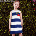 W.L.MONSOON Girls Summer Dress Robe Enfant 2017 Brand Toddler Dress Kids Clothes Blue Striped Cherry Embroidery Princess Costume