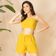 Yellow backless lace strapless small vest draw string agaric edge straight shorts  two-piece outfit women Boho two piece set