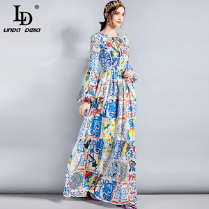 Image 3 - LD LINDA DELLA Fashion Designer Maxi Dress 5XL Plus size Womens Long Sleeve Boho Colorful Flower Print Casual Long Dress