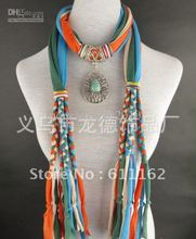 Free 2013 Scarf jewelry Women's pendant scarves cheap Elegant Fringed pendants necklace scarves