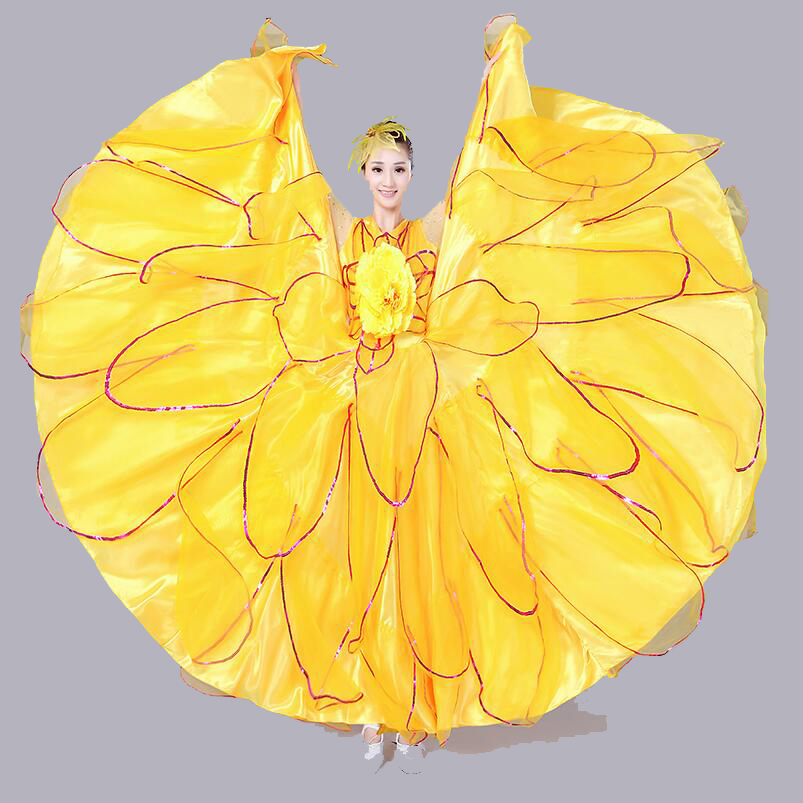 360 Graden Vrouwen Lange Mouw Spaanse Flamenco Kostuum Stierengevecht Dans Jurk Lange Gewaad Fille Rood Flamenco Jurken Voor Meisjes L227